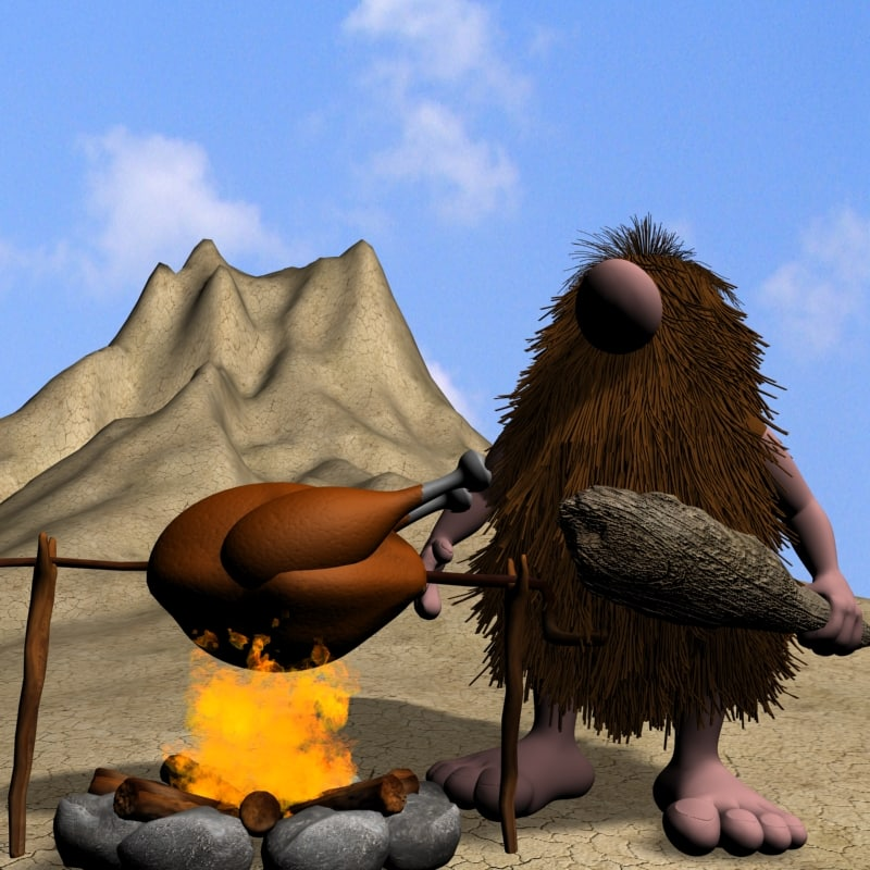 3d cartoon caveman character rigged
