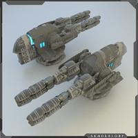 3d model scifi turret