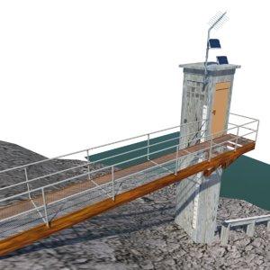 3d river gauge station model