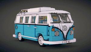 3d t1 camper van lego model