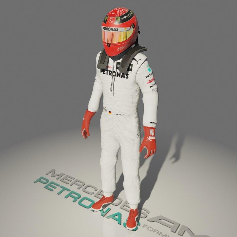 formula driver michael schumacher 3d model