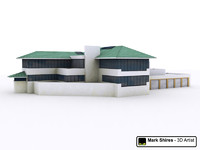 Office Type Clubhouse Building - Low Poly