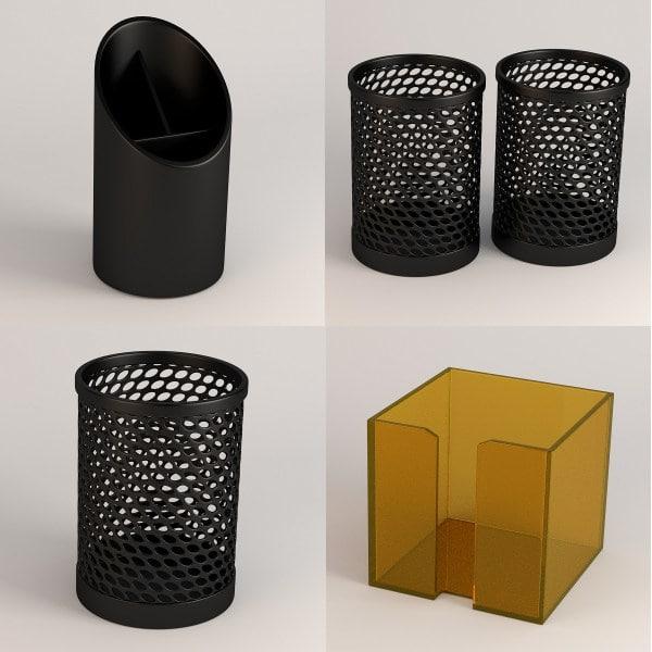 pencil cups 3d obj