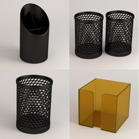 pencil cups 3d obj