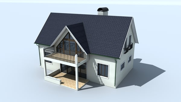3d small cottage model