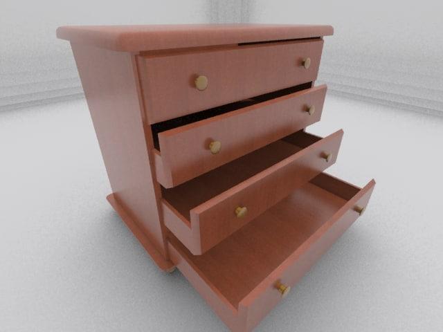 wooden dresser 3d 3ds