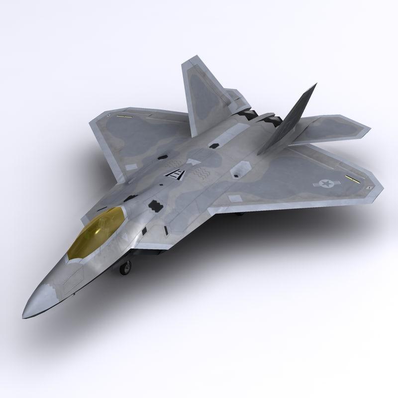 3d f-22 raptor fighter aircraft model