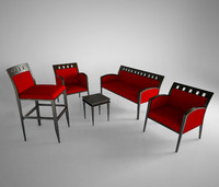 chairs blossom set 3d model