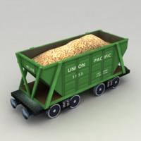 Lowpoly Grain Hopper Wagon