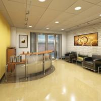 3d model building lobby office reception
