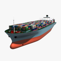 3d container ship animation model