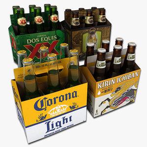3d model of set packs beer