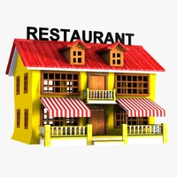 3d model cartoon restaurant toon