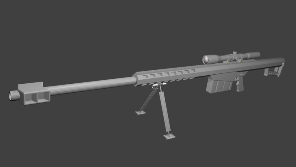 free barrett m82 sniper rifle 3d model