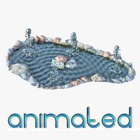 3d fountain animation model