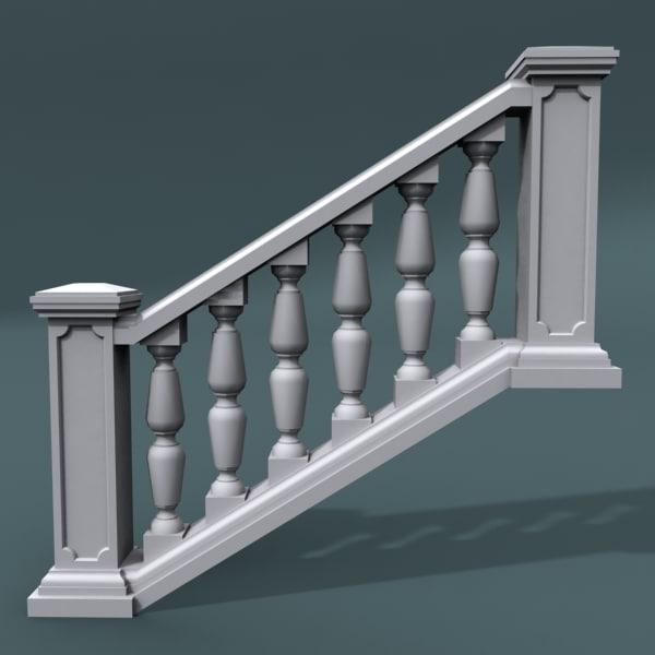 3d staircase balustrade model