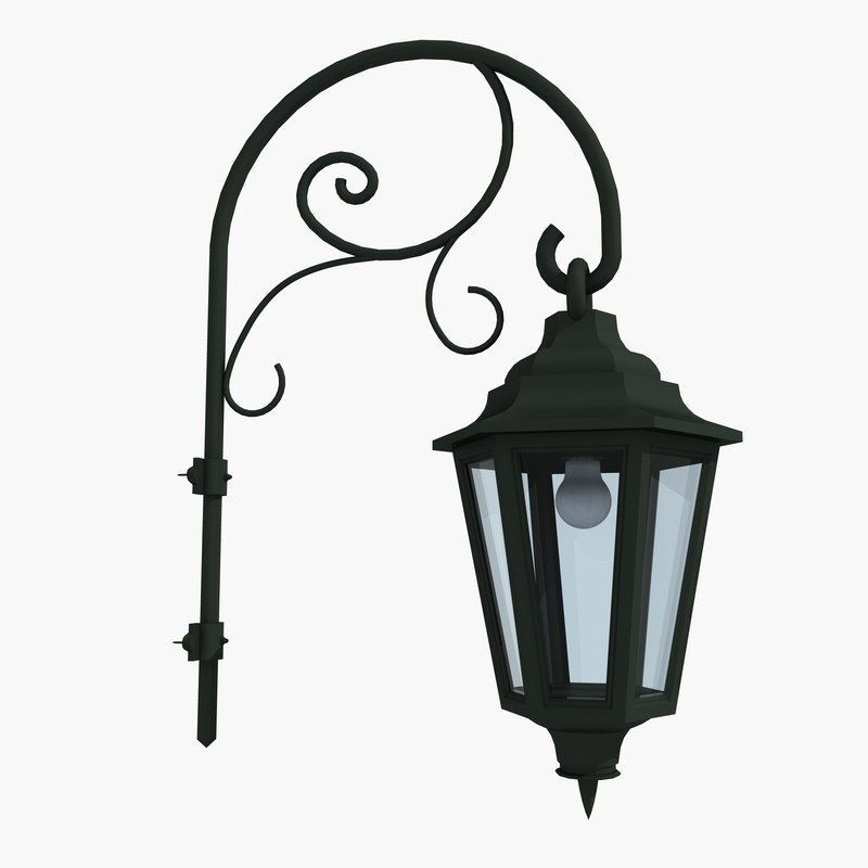 3d model of street lamps light