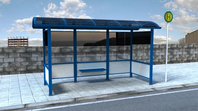 3d german bus stop model