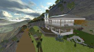 3d pool farm house model