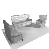Classic Leather Chair 3 Piece Collection