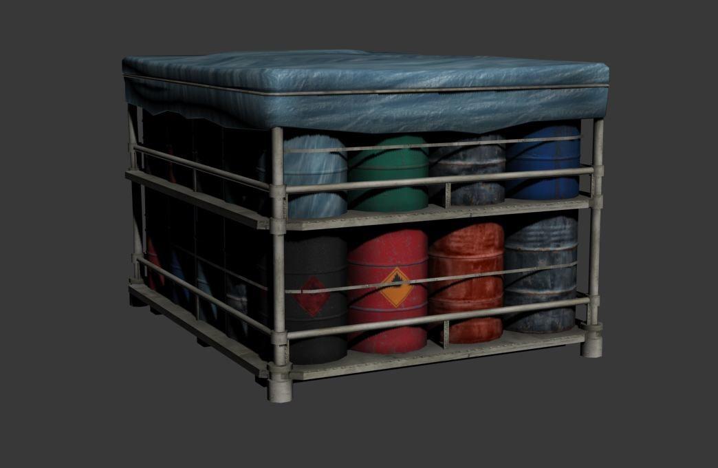 pallet barrels 3d max
