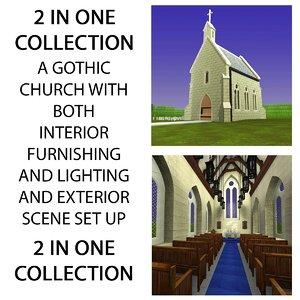 3ds gothic church exterior interior