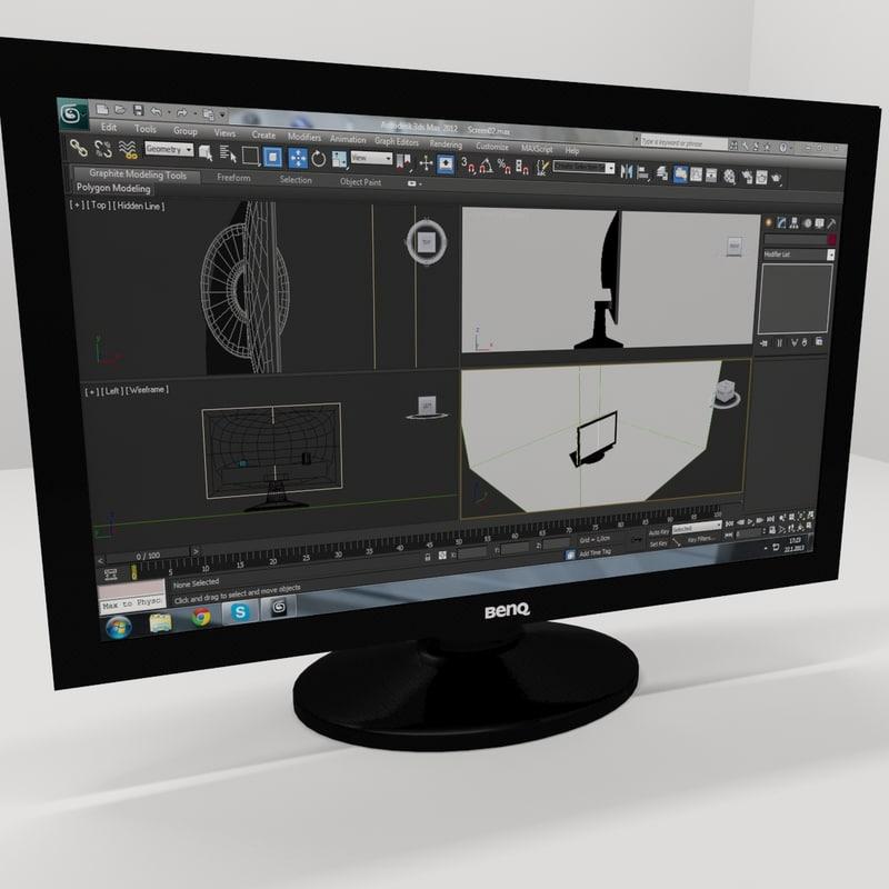 benq computer screen desktop 3d model