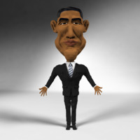 caricature obama 3d model