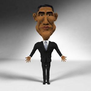 caricature obama 3d model