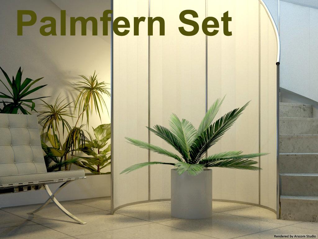 3d model palmfern set