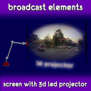 screen broadcast placeholder 3d model