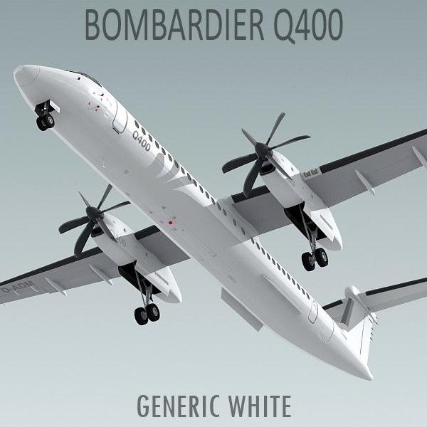 3d havilland bombardier q400 plane model