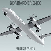 3d havilland bombardier q400 plane model