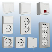 3d surface mounted switches sockets model
