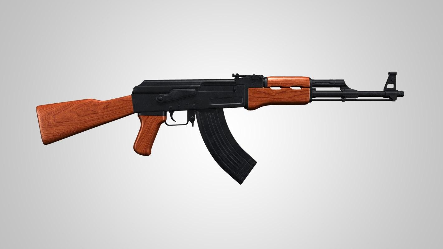 machine gun ak 47 3d model