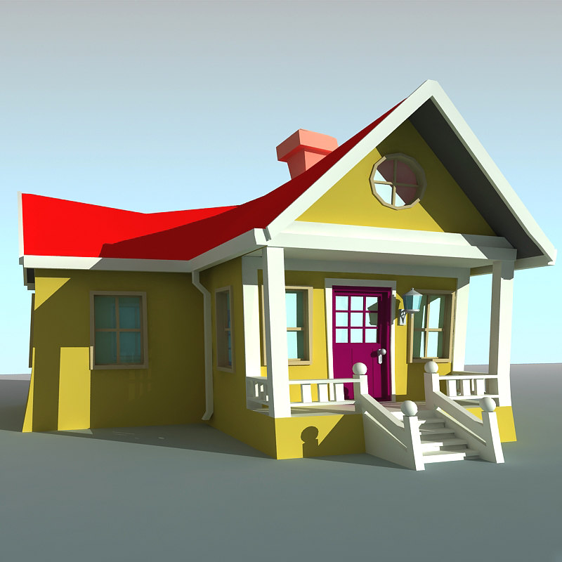 3d model cartoon house 2 House 3d model