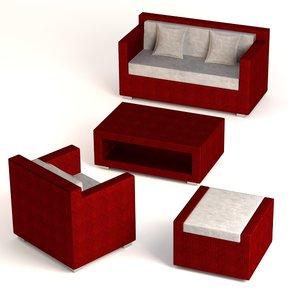 garden furniture set 3d 3ds