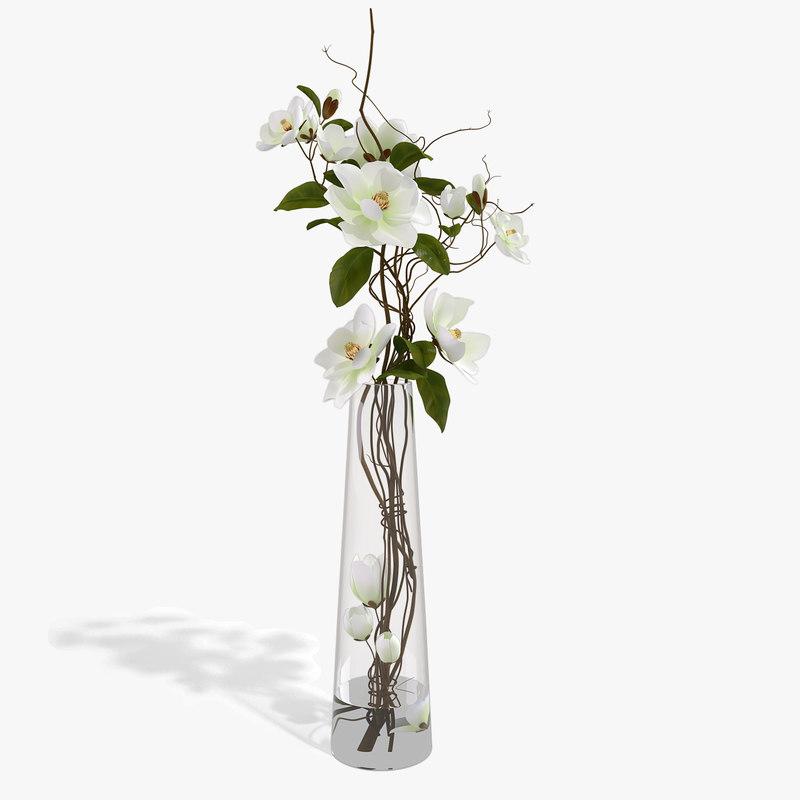 bouquet magnolia 3d max