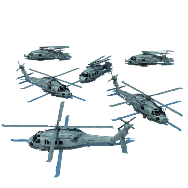 mh-60r helicopters aircraft carrier 3d model
