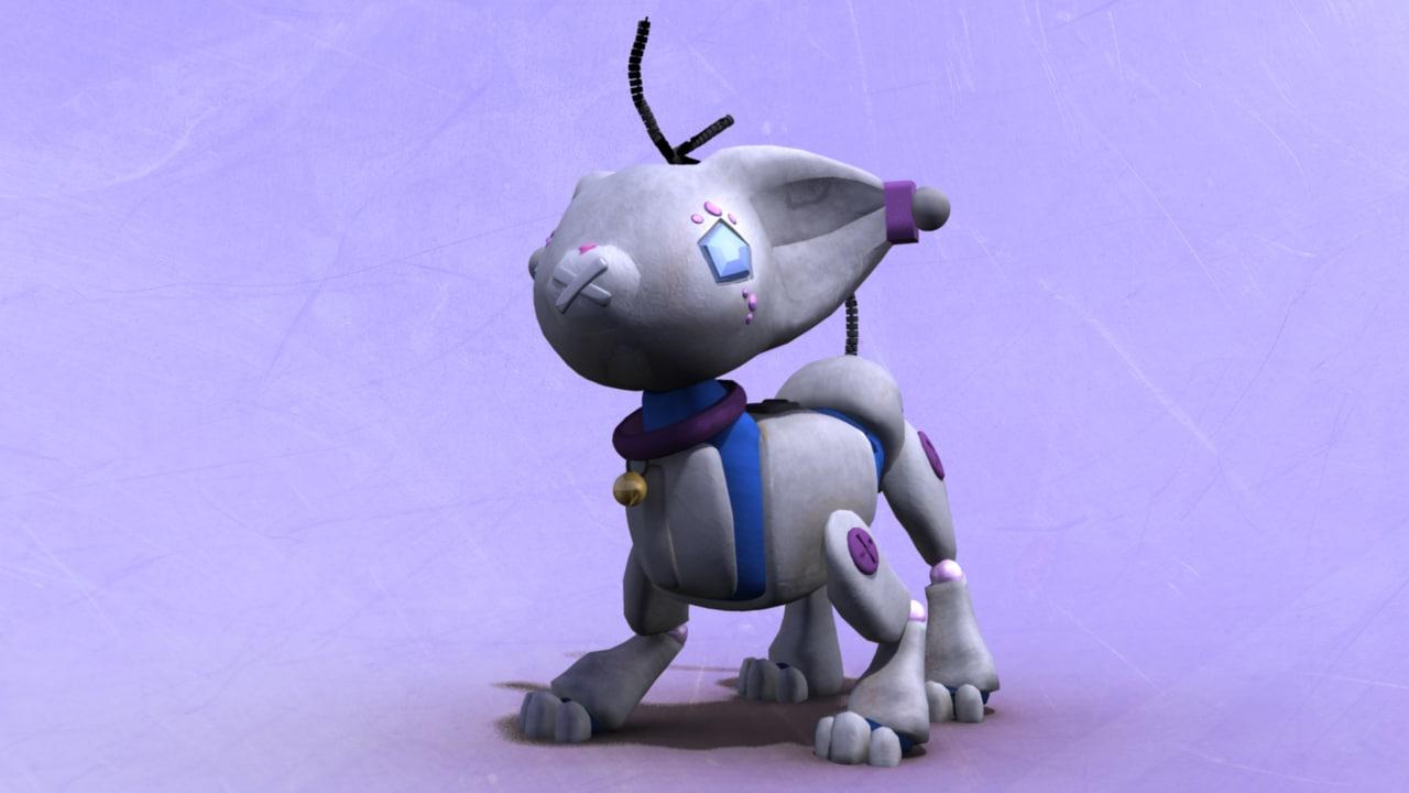rigged cat robot obj