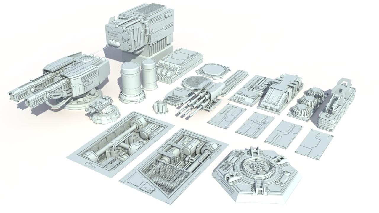 sci-fi details greeble scifi 3d max