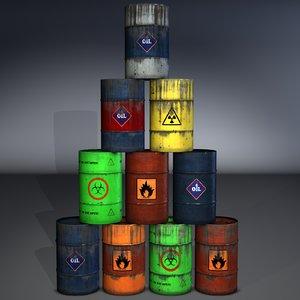 3d model set barrels
