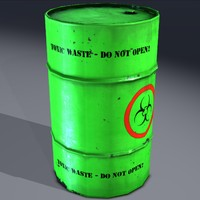 3d industrial barrel toxic hazardous model