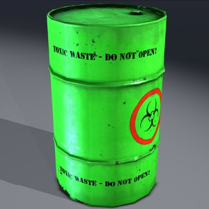 3d industrial barrel toxic hazardous model