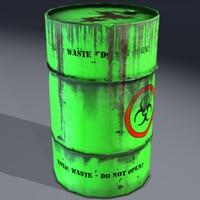 Toxic waste barrel, hazardous. Game ready!