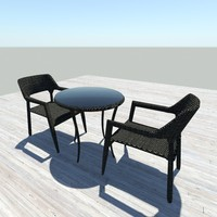Black Wicker Tables - Chairs