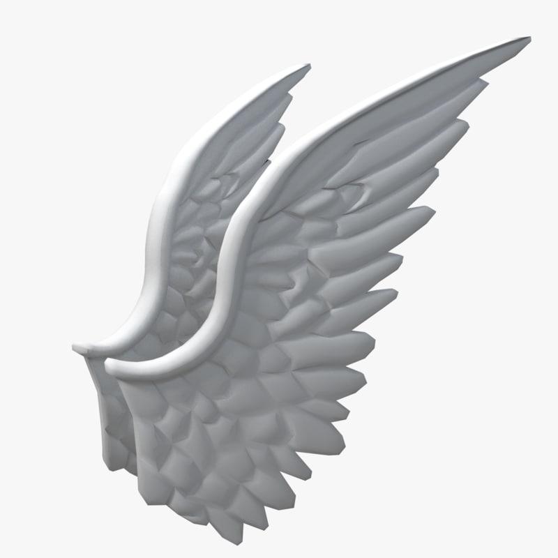angel wings 3d obj