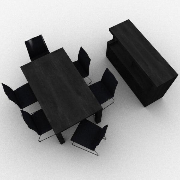 3d model black dining room set
