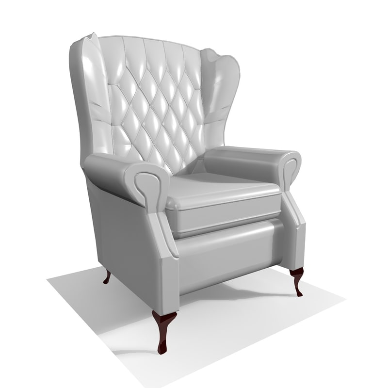 3d model classic 1 seater leather chair