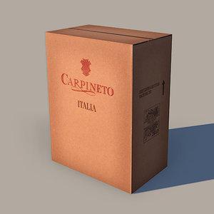 cardboard wine box 3d obj